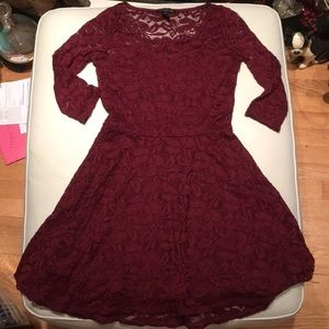 Material Girl Maroon Lace Skater Dress